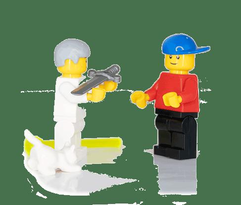 3C Lego® Figures Sage hands weapon to hero