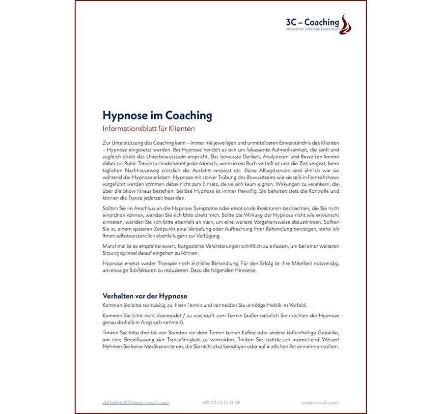 Infoblatt Hypnose